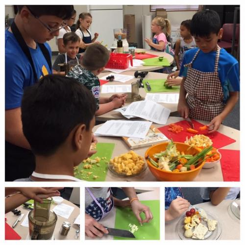 Children cutting vegetables and making bean dips.
