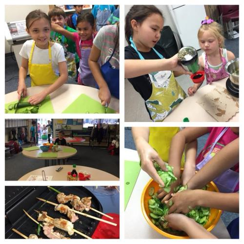 Children making sunomono and teriyaki sauce