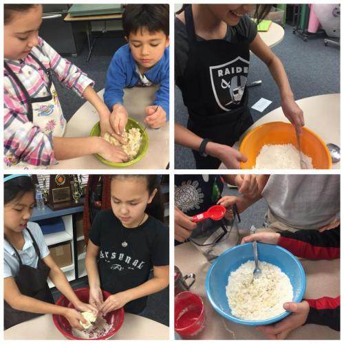 Children making pasta dough 3