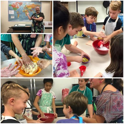 Children making Brazilian cheese bread
